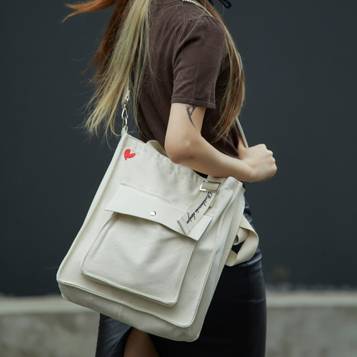 [하트로고라인]NEW AH CHOO SHOULDER BAG (IVORY/LUV CRUSH)